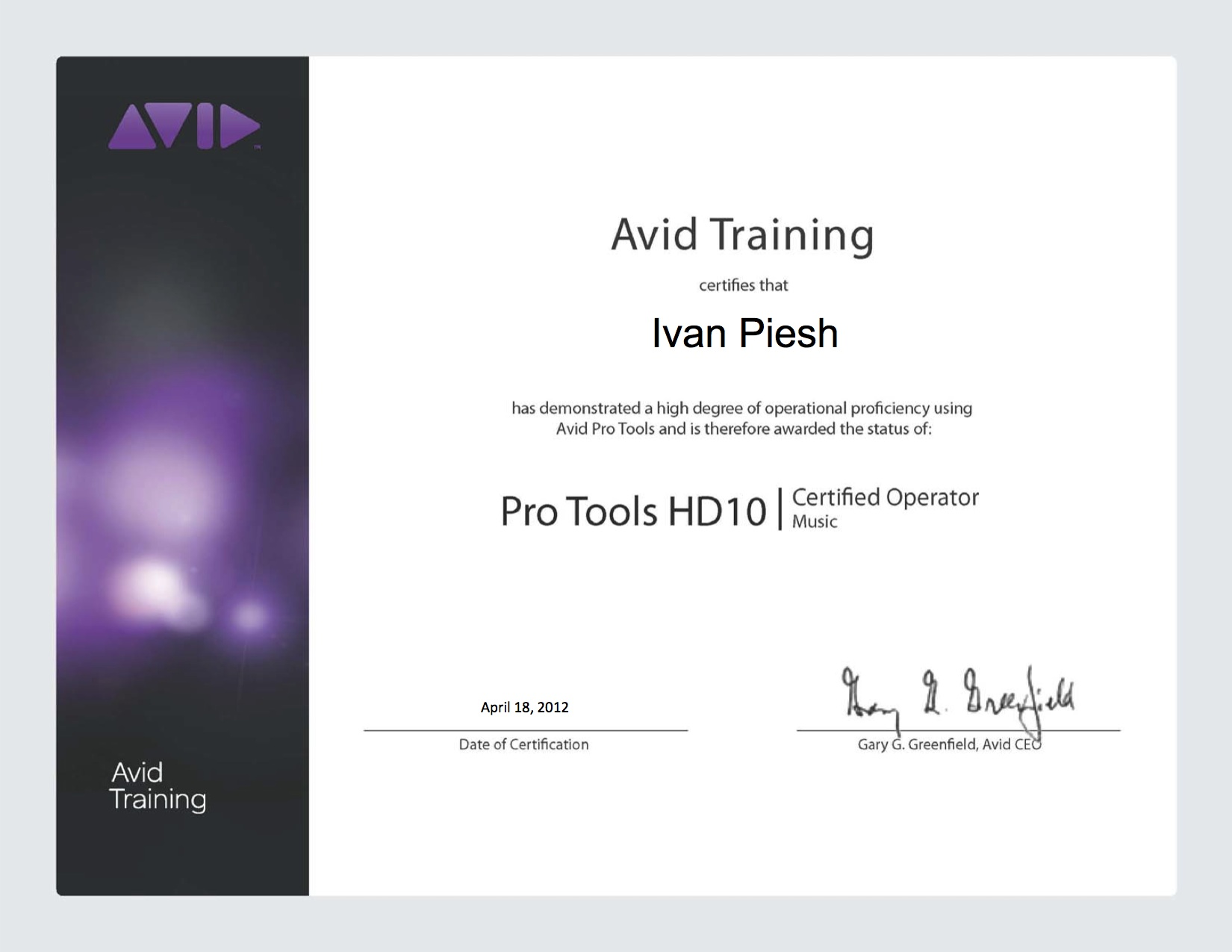 Ivan miles piesh avid pro tools 10 music operator certification xflitez Gallery